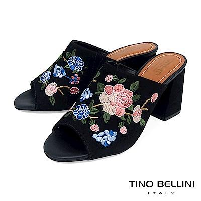 Tino Bellini 巴西進口絕美刺繡花妍高跟魚口涼拖鞋 _ 黑