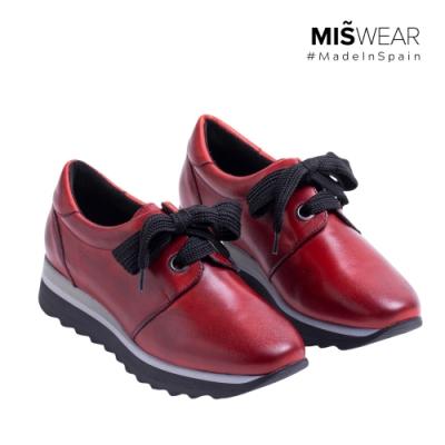 MARILA 牛皮緞帶休閒鞋-暗紅