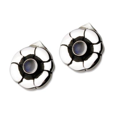 【Georg Jensen 喬治傑生】#36 月光石+純銀夾式耳環