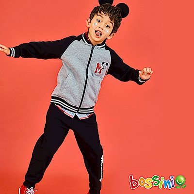 bossini男童-米奇系列厚棉針織長褲黑
