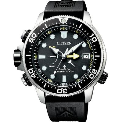 CITIZEN 星辰 PROMASTER 光動能200米潛水錶-黑膠帶/46mm BN2036-14E