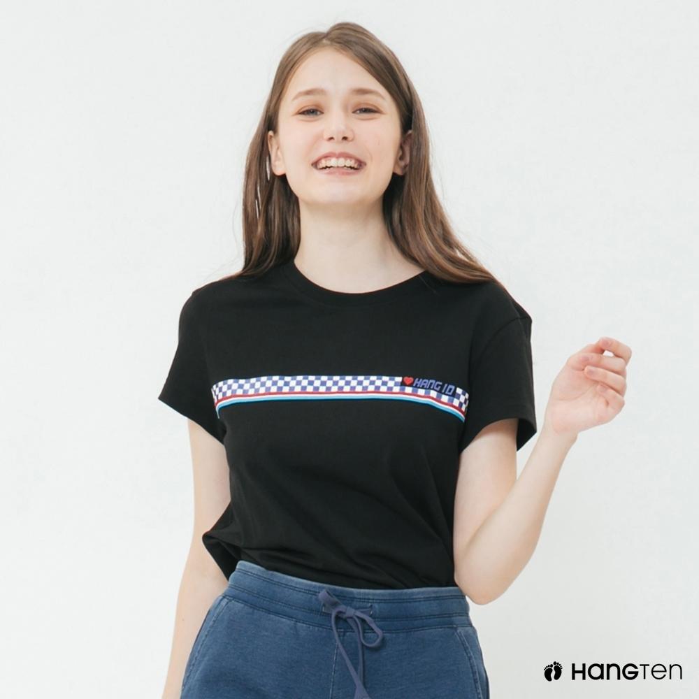 Hang Ten - 女裝 - 有機棉-黑白棋格造型短T - 黑