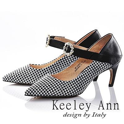 Keeley Ann 獨特魅力~千鳥格紋水鑽花真皮軟墊尖頭細跟鞋(黑色-Ann)
