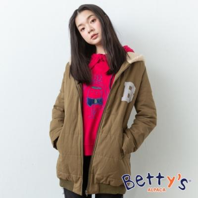 betty's貝蒂思 連帽後繡字母拉鍊鋪棉大衣(軍綠色)
