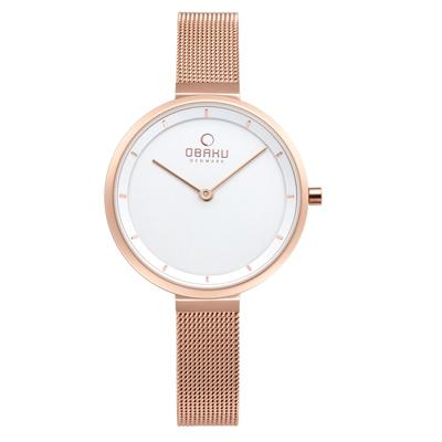 OBAKU 現代極簡經典女性腕錶-玫瑰金色-V225LXVIMV-32mm