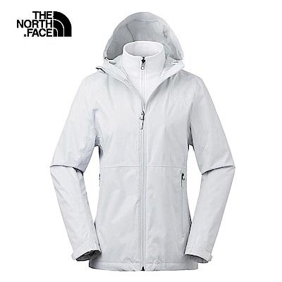 The North Face北面女款灰白色防風防水三合一外套|3V9D5TN