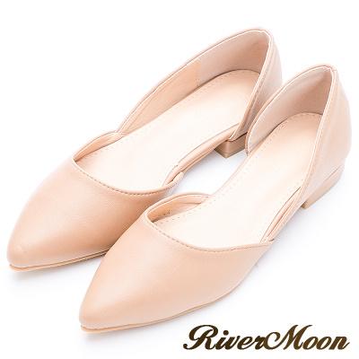 River&Moon簡約經典素面皮質側挖空尖頭鞋-米杏