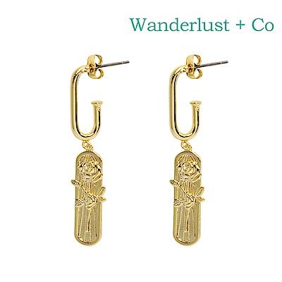 Wanderlust+Co 澳洲時尚品牌 ROSA玫瑰雕花吊墜耳環 金色