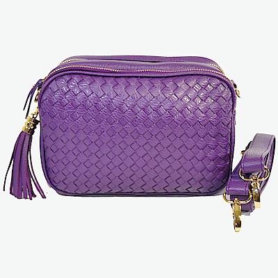 Miyo巴黎時尚經典編織方形流蘇肩斜兩用包(紫色)
