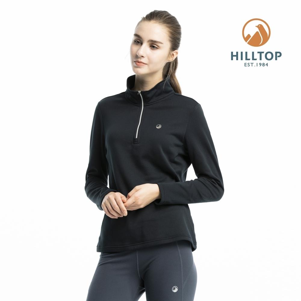【hilltop山頂鳥】女款ZISOFIT保暖快乾抗菌刷毛上衣H51FJ2魚子醬黑