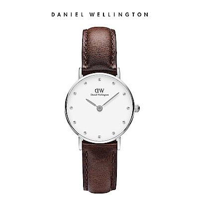 DW 手錶 官方旗艦店 26mm銀框 Classy 深棕真皮鑽石錶