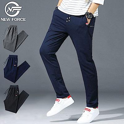 NEW FORCE 抽繩棉質直筒休閒褲-藍色