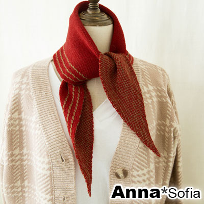 【滿額再75折】AnnaSofia 三角框邊線 針織領巾短圍巾(酒紅色)