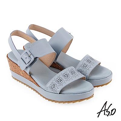 A.S.O 希臘渡假 花型水鑽楔型涼拖鞋淺藍