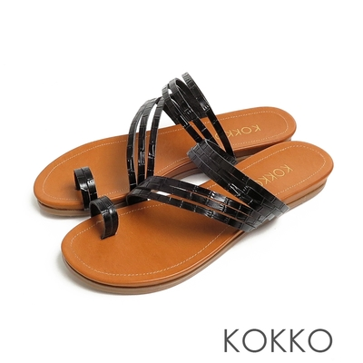 KOKKO率性螺旋細帶牛皮平底夾腳拖鞋鱷魚壓紋黑