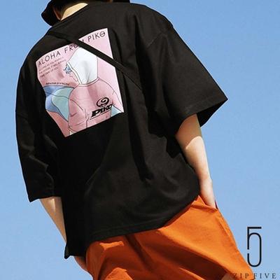 ZIP日本男裝 PIKO衝浪少年插畫印刷寬版TEE  (7色)