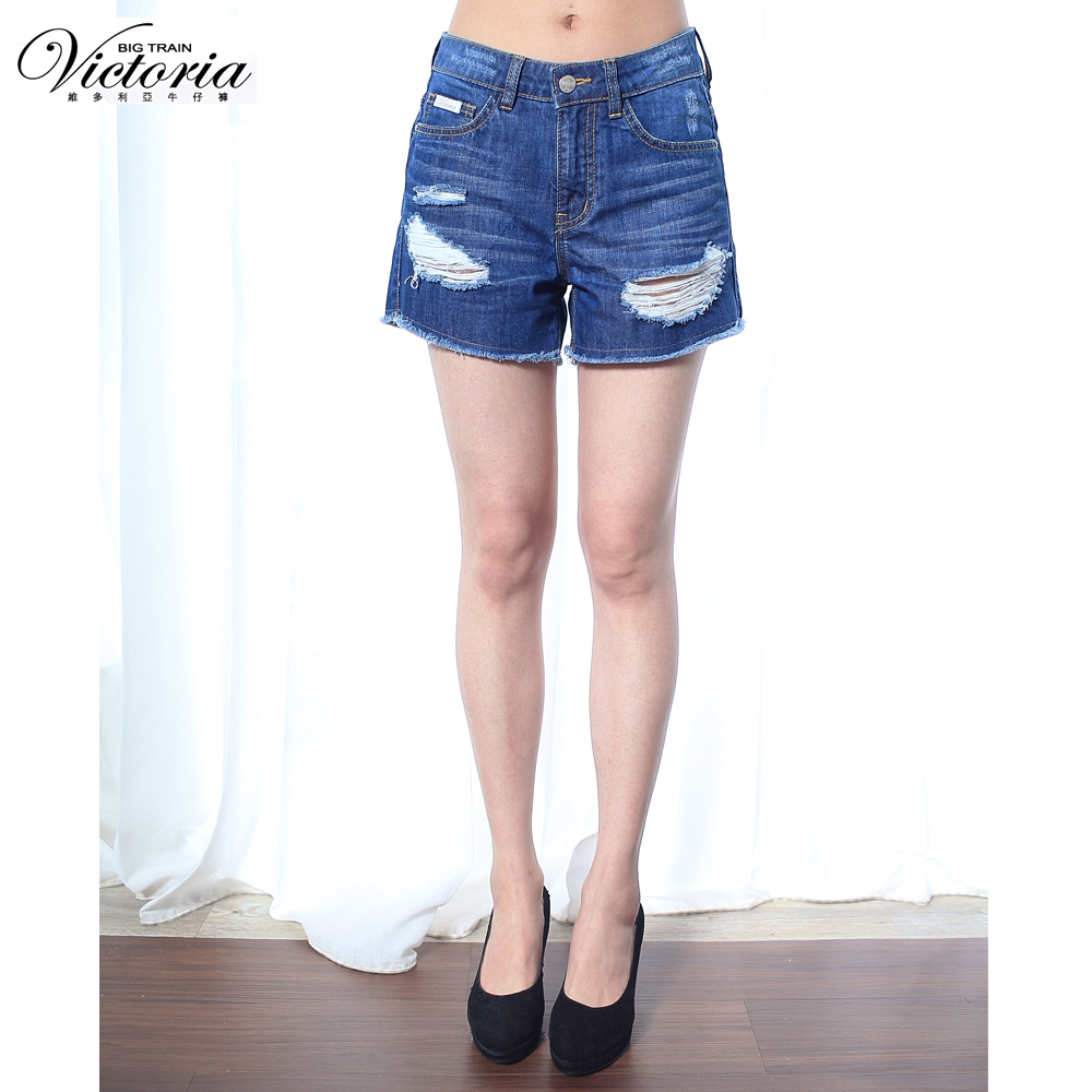 Victoria 中腰割破鬚邊短褲-女-中藍