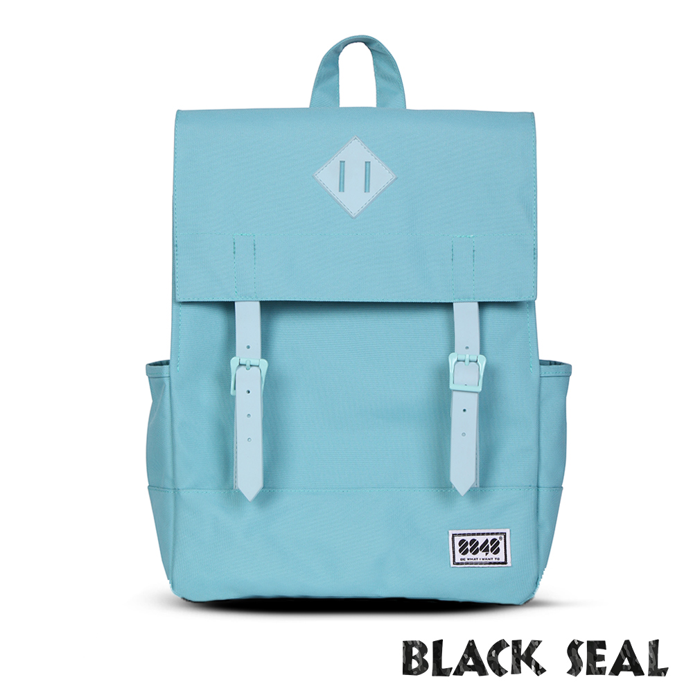 福利品 BLACK SEAL 聯名8848系列- 撞色拼接雙皮帶釦後背包- 天空藍