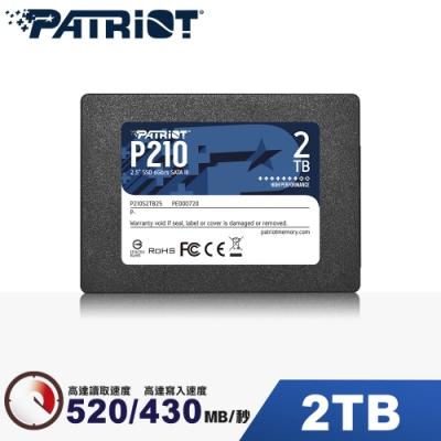 (6/20前再送3%超贈點)Patriot美商博帝 P210 2TB 2.5吋 SSD固態硬碟