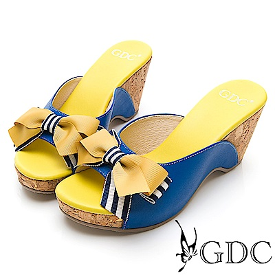 GDC-春夏繽紛撞色蝴蝶結木紋楔型拖鞋-藍色