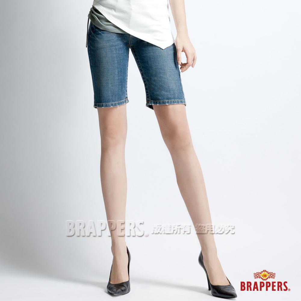 BRAPPERS 女垮褲系列-合身五分褲-淺藍