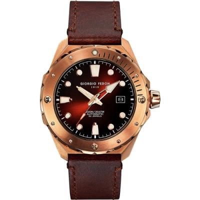 GIORGIO FEDON 1919 海藍寶石系列機械錶(GFCJ006)-咖啡x玫塊金框