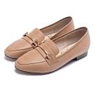 Pineapple Outfitter 英倫雅痞 一字金屬環扣真皮樂福鞋-棕色
