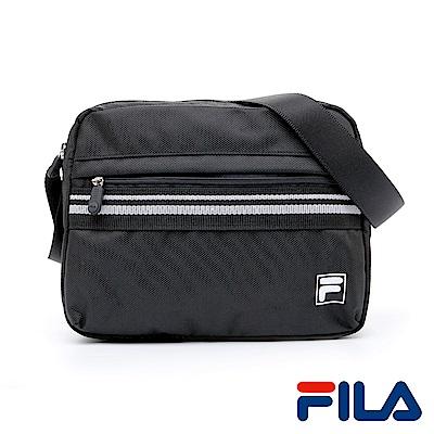 FILA中性時尚質感側斜肩包(時尚黑)
