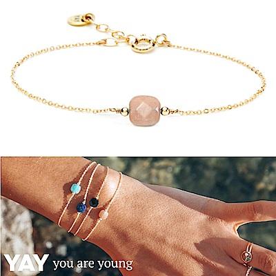 YAY You Are Young 法國品牌 Riviera 玫瑰粉太陽石手鍊 金色方形款