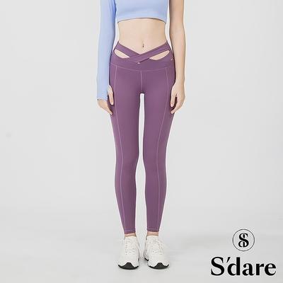 S dare 小腰精高腰顯瘦提臀運動褲(貴氣紫)