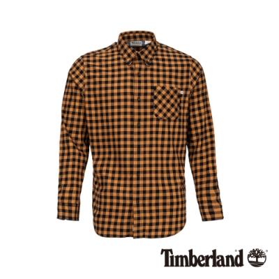 Timberland 男款小麥色磨毛棉格紋長袖襯衫|A1ZMJ