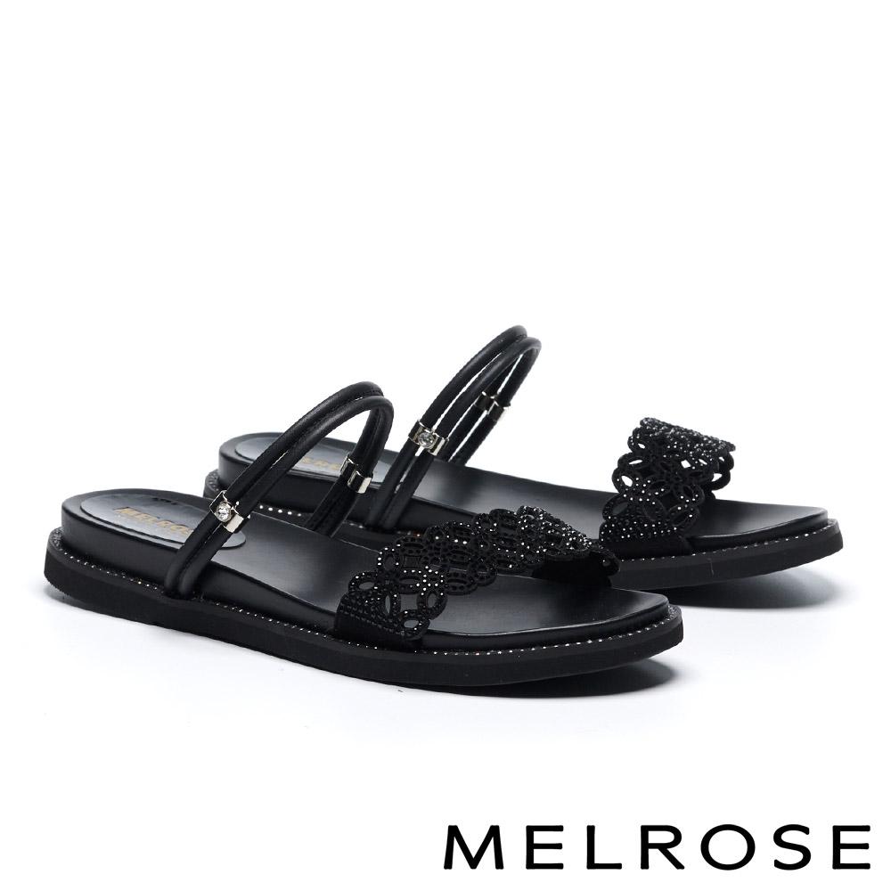 拖鞋 MELROSE 氣質高雅簍空晶鑽造型兩穿涼拖鞋-黑