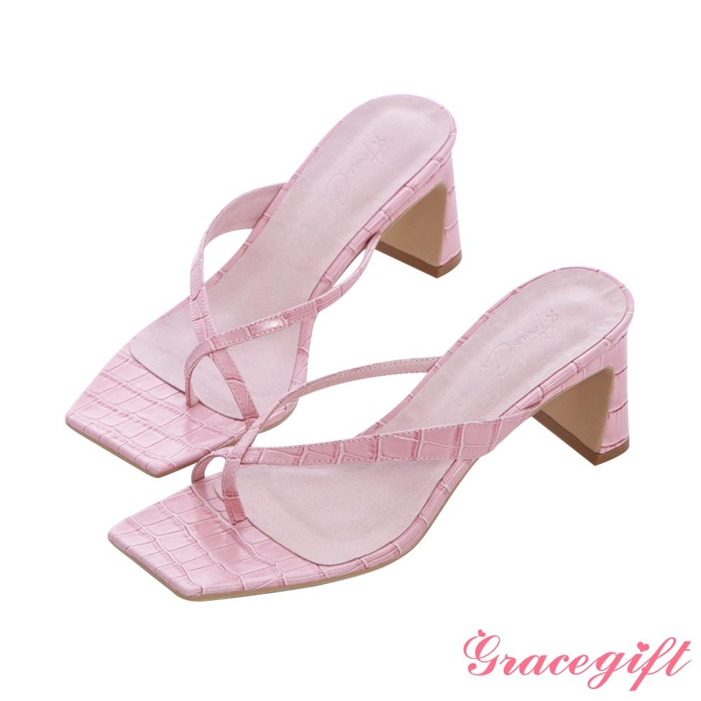Grace gift X Annie-聯名全真皮交叉夾腳中跟涼拖鞋 壓紋粉