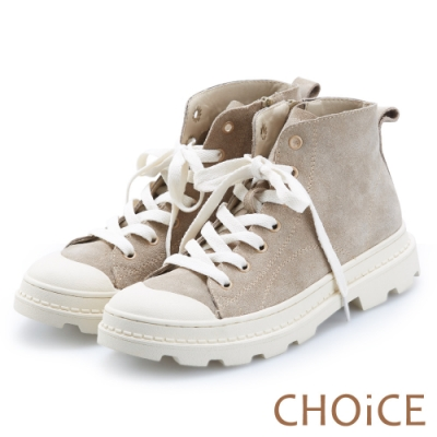 CHOiCE 街頭率性 真皮高筒綁帶休閒鞋-可可灰