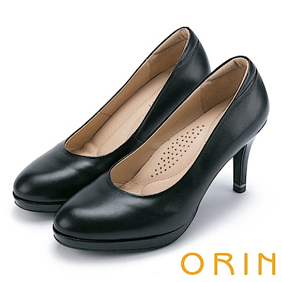 ORIN 簡約時尚 嚴選羊皮百搭素面高跟鞋-黑色