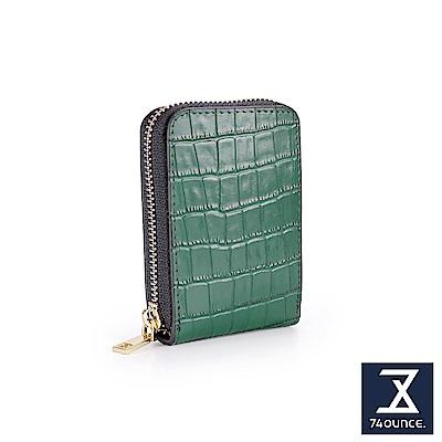 74盎司 仿鱷魚紋真皮防RFID直式卡片包[LN-739]綠