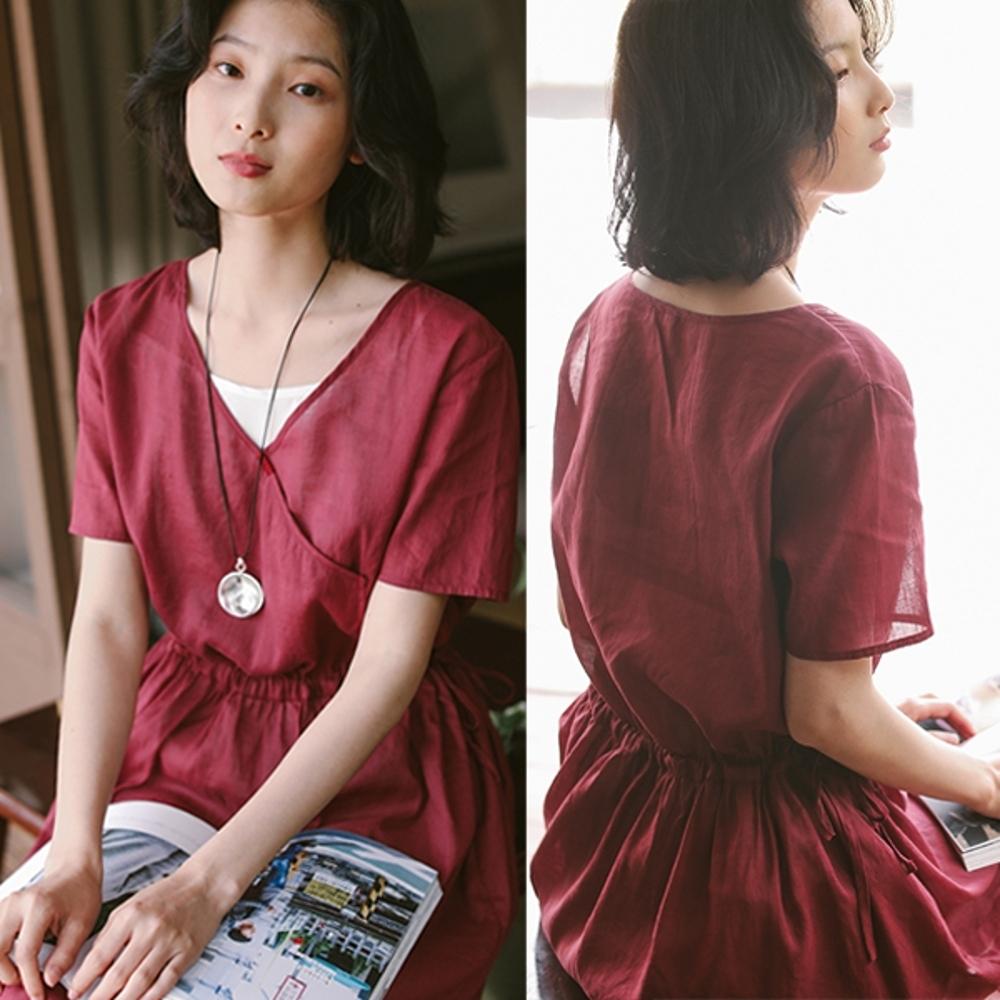 洋裝-高支苧麻復古斜襟紅色V領寬鬆棉麻中長裙-設計所在
