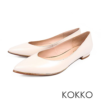 KOKKO- 愛的練習題真皮V口尖頭平底鞋-簡約米