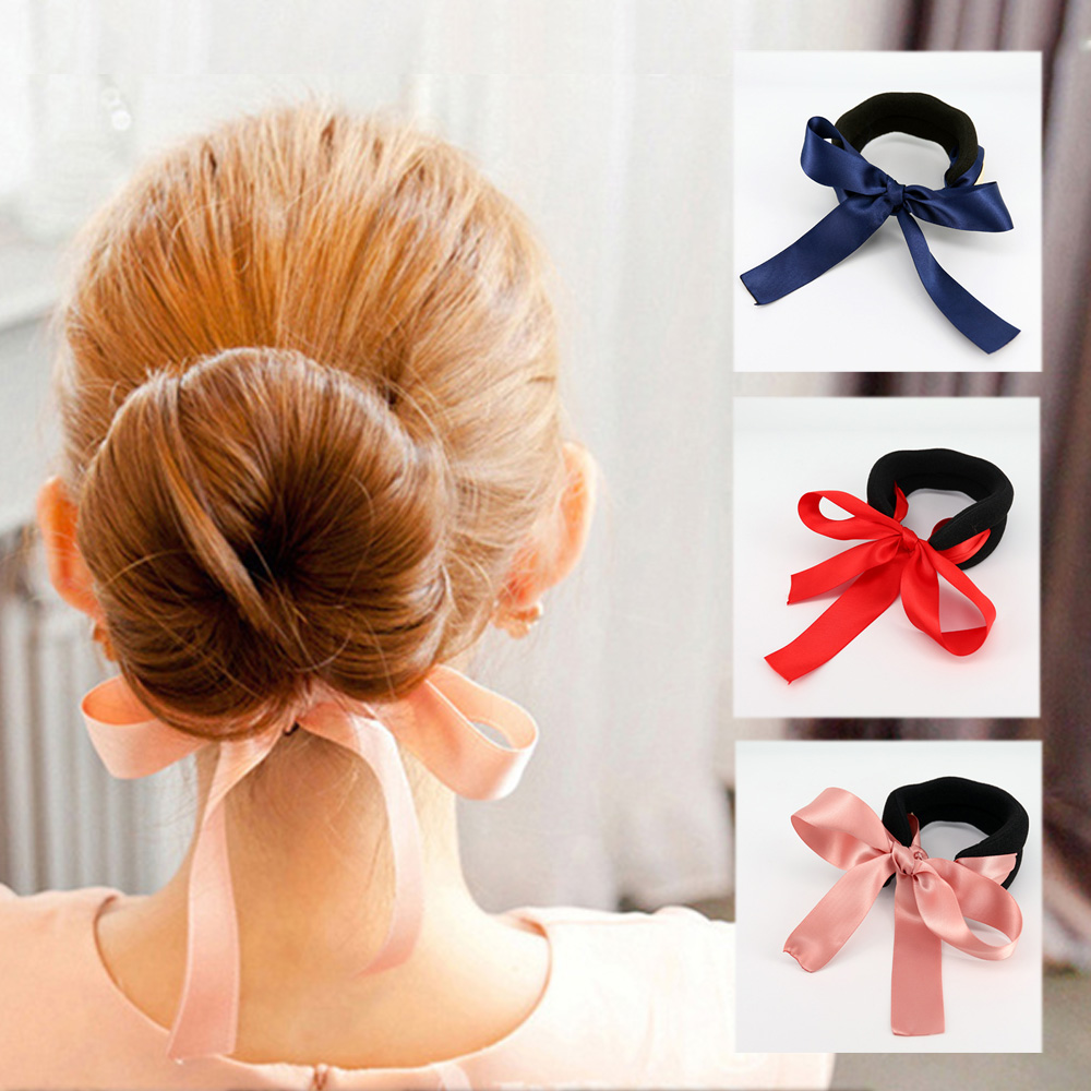 E-dot 氣質緞帶蝴蝶結丸子頭盤髮器 (三色選)