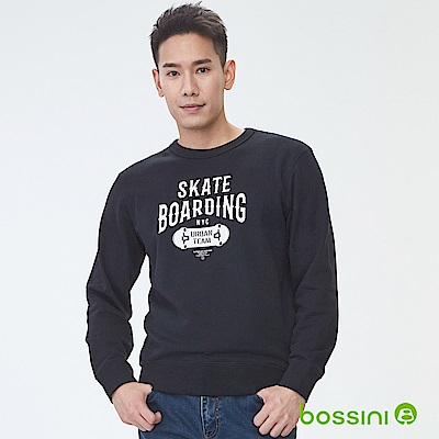 bossini男裝-印花厚棉運動衫04黑