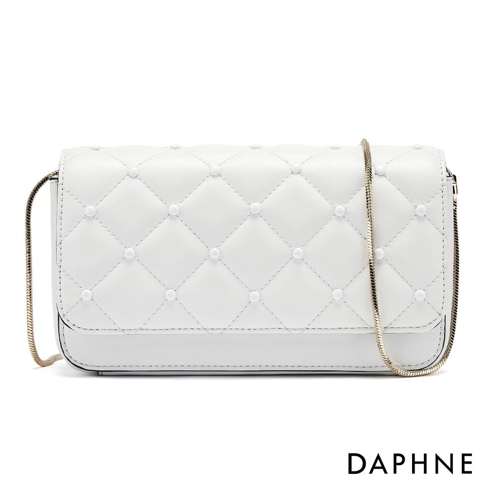 達芙妮DAPHNE-經典菱格紋鍊帶小方包-白色