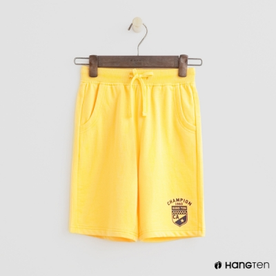 Hang Ten -童裝 - 純色盾牌logo運動棉短褲 - 黃