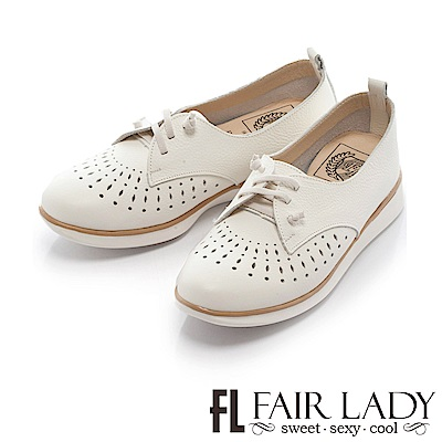 Fair Lady Soft Power軟實力 縷空滾邊荔枝紋皮質休閒鞋 白