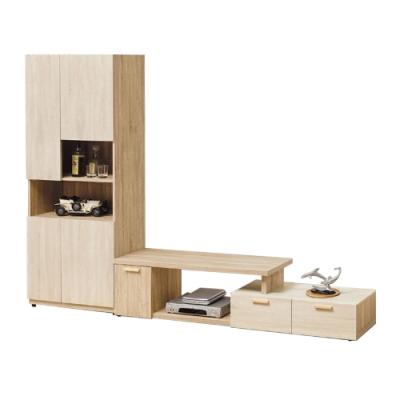 柏蒂家居-瑞莎6.5尺L型電視櫃組合(展示櫃+伸縮長櫃)-195~267x40x197cm