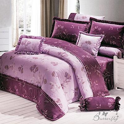 BUTTERFLY-台製40支紗純棉加高30cm薄式單人床包+單人鋪棉兩用被-羅曼夜-紫