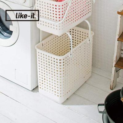 【日本like-it】可堆疊加高洗衣隙縫籃-L-1入