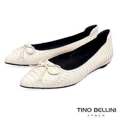 Tino Bellini 真皮神祕蛇紋小蝴蝶結平底娃娃鞋 _ 米白