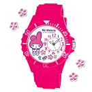 Sanrio三麗鷗偏機芯貼鑽系列運動彩帶錶-My Melody美樂蒂40mm桃紅色