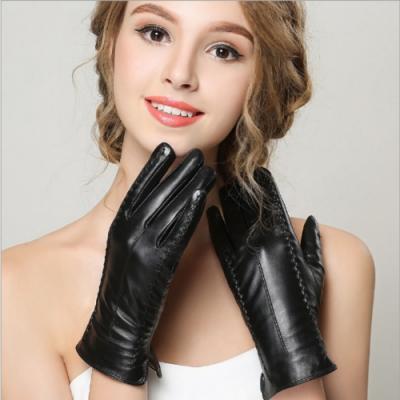 ego life小羊皮加絨手工縫線全掌觸控保暖女手套