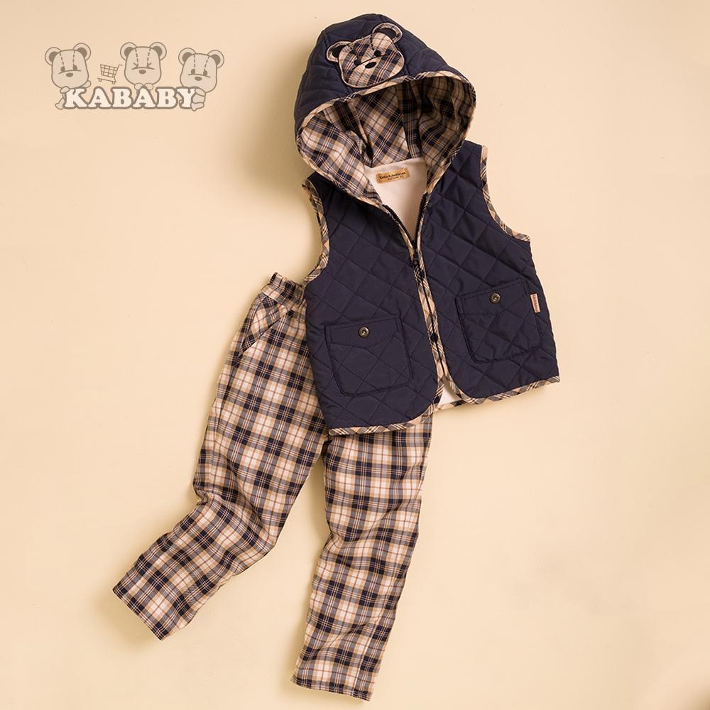 【金安德森】KA休閒菱格車棉帶帽背心+經典卡格褲(藍色)